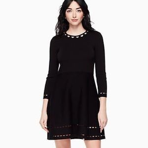 Kate Spade  fit and flare black long sleeve dress